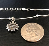 Sunflower Anklet, Sterling Silver Beaded Ankle Bracelet, Good Luck Charm Jewelry, Boho Foot Jewelry, Sunflower Charm Anklet Chain