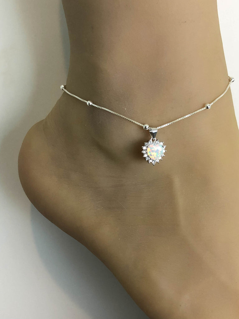 White Opal Anklet, Sterling Silver Beaded Ankle Bracelet, Good Luck Charm Jewelry, Fire Opal Charm Anklet, CZ Beach Wedding Anklet Chain