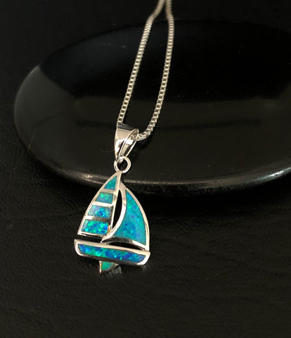 Blue Opal Sailboat Necklace, Sterling Silver Sailboat Necklace, Sail Boat Nautical Necklace, Ocean Necklace for Travelers, Beach Necklace