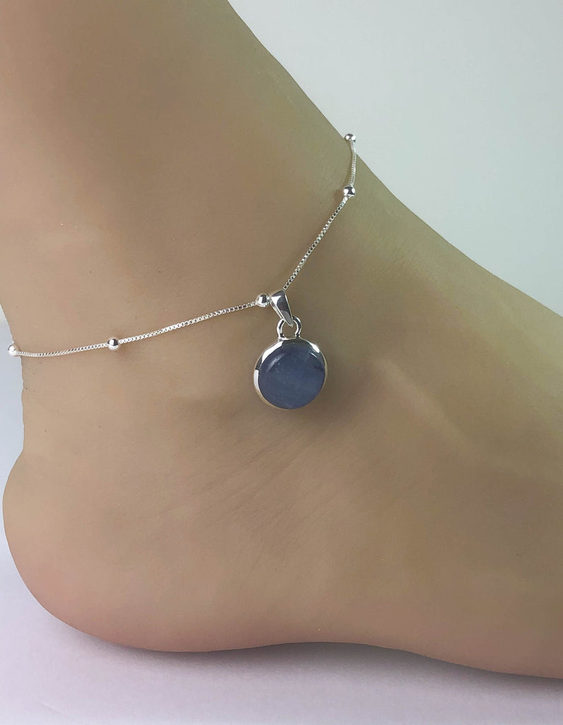 Genuine Kyanite Anklet, Sterling Silver Beaded Ankle Bracelet, Good Luck Charm Jewelry, Natural Kyanite Anklet, Beach Chain, Summer Anklet