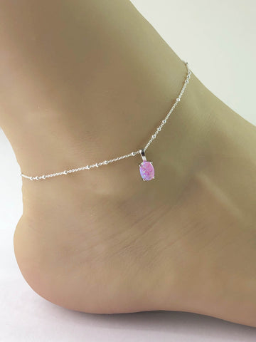 Pink Opal Anklet, Sterling Silver Beaded Ankle Bracelet, Good Luck Charm Jewelry, Pink Fire Opal Charm Anklet, Beach Wedding Anklet Chain