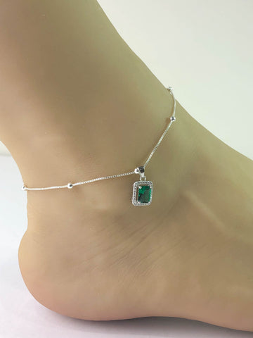 Emerald CZ Anklet, Sterling Silver Beaded Ankle Bracelet, Good Luck Charm Jewelry, May Birthstone Charm Anklet, Beach Wedding Anklet Chain