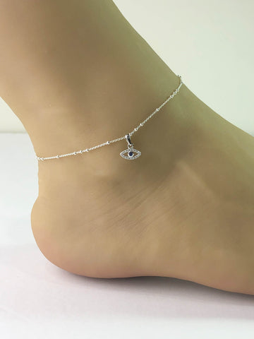 Dainty Evil Eye Anklet, Sterling Silver Beaded Ankle Bracelet, Good Luck Charm Jewelry, Protection Anklet, Anklet Chain, Evil Eye CZ Jewelry