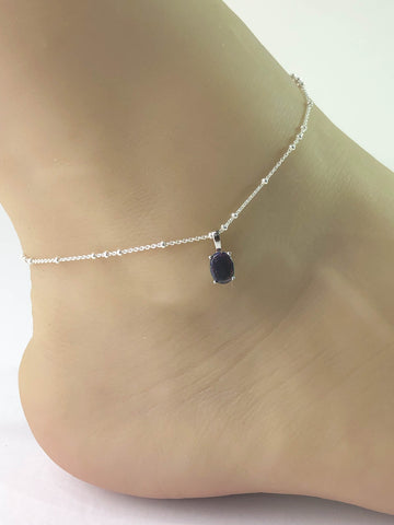 Black Opal Anklet, Sterling Silver Beaded Ankle Bracelet, Good Luck Charm Jewelry, Black Fire Opal Charm Anklet, Beach Wedding Anklet Chain