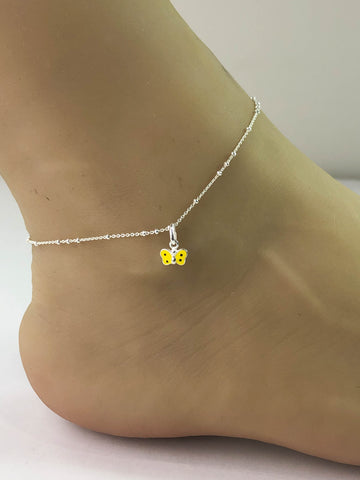 Yellow Butterfly Anklet, Sterling Silver Beaded Ankle Bracelet, Good Luck Charm Jewelry, Tiny Butterfly Jewelry, Anklet Chain, Women Jewelry