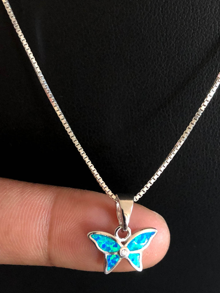 Dainty Butterfly Necklace, Sterling Silver Opal Necklace, October Birthstone Jewelry, Butterfly Charm Pendant, Tiny Butterfly Opal Necklace