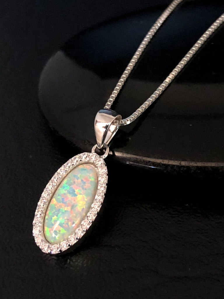 White Opal Necklace, Bridal Necklace, Sterling Silver Fire Opal Necklace, October Birthstone Jewelry, Wedding Necklace, Oval Cut Pendant
