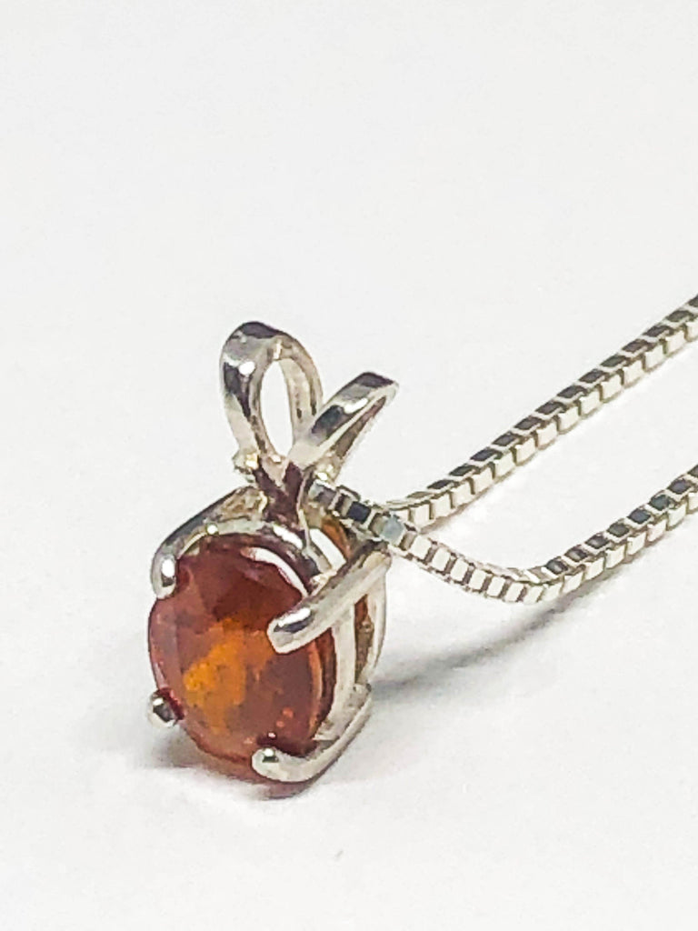 Tiny Mexican Fire Opal Pendant, Genuine Mexican Opal Necklace, October Birthstone, Sterling Silver Opal Pendant, Natural Gemstone Necklace