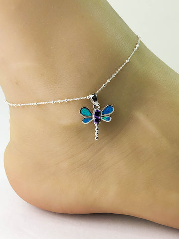 Blue Opal Dragonfly Anklet, Sterling Silver Beaded Ankle Bracelet, Good Luck Charm Jewelry, Dainty Dragonfly Charm Anklet Chain