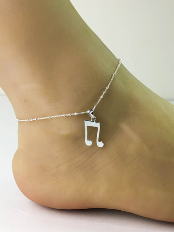 Music Note Anklet, Sterling Silver Beaded Ankle Bracelet, Good Luck Charm Jewelry, music Lover Jewelry, Music Charm Anklet, Beach Wedding