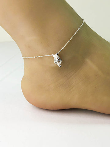 Cat Anklet, Sterling Silver Beaded Ankle Bracelet, Good Luck Charm Jewelry, CZ Cat Anklet, Cat Charm Anklet, Cat Lover Jewelry, Bow Tie Cat