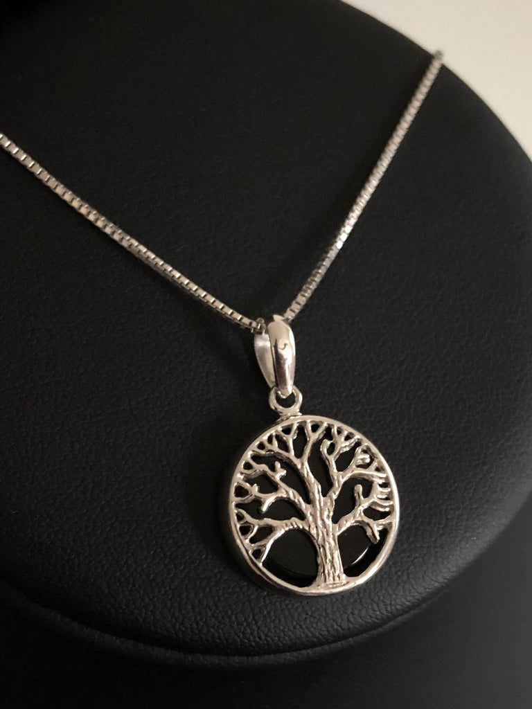 Genuine Black Onyx Tree Of Life Necklace, Sterling Silver Tree Of Life Pendant, December Birthstone, Natural Black Onyx Family Tree Necklace