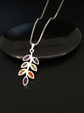 Genuine Chakra Leaf Necklace, Sterling Silver Chakra Necklace, Birthstone Jewelry, Natural Chakra Leaf Pendant, Gift For Girlfriend
