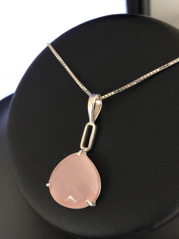 Genuine Chalcedony Necklace, Natural Pink Chalcedony Pendant, Sterling Silver Chalcedony Necklace, Sagittarius Birthstone Jewelry