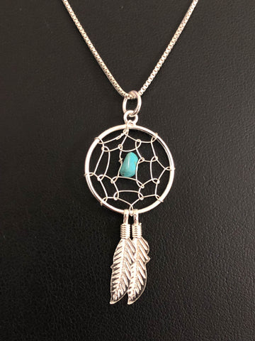 Dream Catcher Necklace, Sterling Silver Feather Necklace, Turquoise Dream Catcher Charm Pendant, Boho Chic Feather Necklace, Gifts For BFF