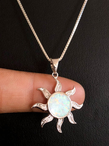 White Opal Sun Necklace, Sterling Silver Sunshine Pendant, October Birthstone Jewelry, Bridal Wedding Necklace, Celestial Sun Charm Pendant