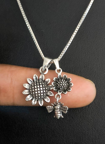 Sunflower Bee Necklace, Sterling Silver Sunflower Necklace, Silver Sunflower Bee Charm Pendant, Simple Delicate Necklace, Gift For Her