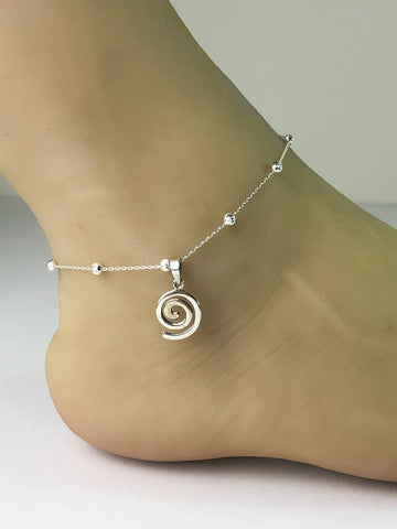 Swirl Anklet, Sterling Silver Beaded Ankle Bracelet, Good Luck Charm Jewelry, Swirl Charm Anklet, Beach Wedding, Beach Party Anklet
