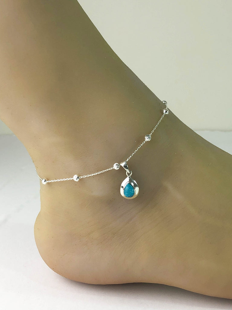 Genuine Turquoise Anklet, Sterling Silver Beaded Ankle Bracelet, Good Luck Charm Jewelry, Turquoise Charm Anklet, Beach Wedding Anklet Chain