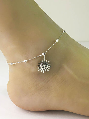 Sunshine Anklet, Sterling Silver Beaded Ankle Bracelet, Celestial Charm Anklet, Smiling Sunshine Jewelry, Beach Chain, Boho Foot Jewelry