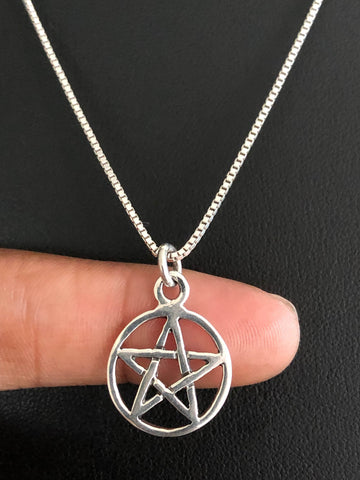 Dainty Pentagram Necklace, Sterling Silver Pentagram Pendant, Spiritual Jewelry, Pentagram Charm Pendant, Gift For Her, Pentacle Pendant