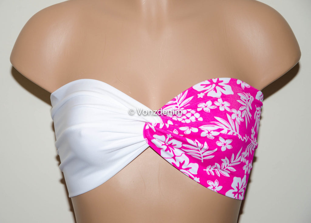 White and Floral Pink Yoga Sport Strapless Twisted Bandeau, Swimwear Bikini Top, Twisted Top Bathing Suits, Spandex Bandeau Bikini - Voneenz