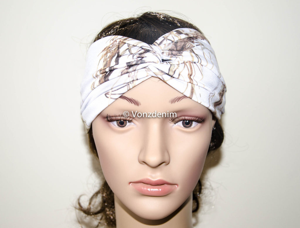 White Camo Jersey Turban Headband, Wide Stretchy Women's Head Wrap, Girly Hair Accessories, Twisted Fabric Hair Wrap - Voneenz