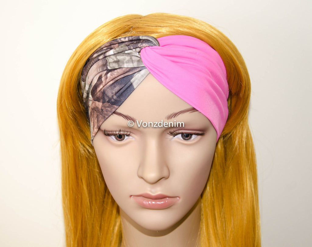 Camo and Pink Jersey Turban Headband, Wide Stretchy Women's Head Wrap, Girly Hair Accessories, Twisted Fabric Hair Wrap - Voneenz