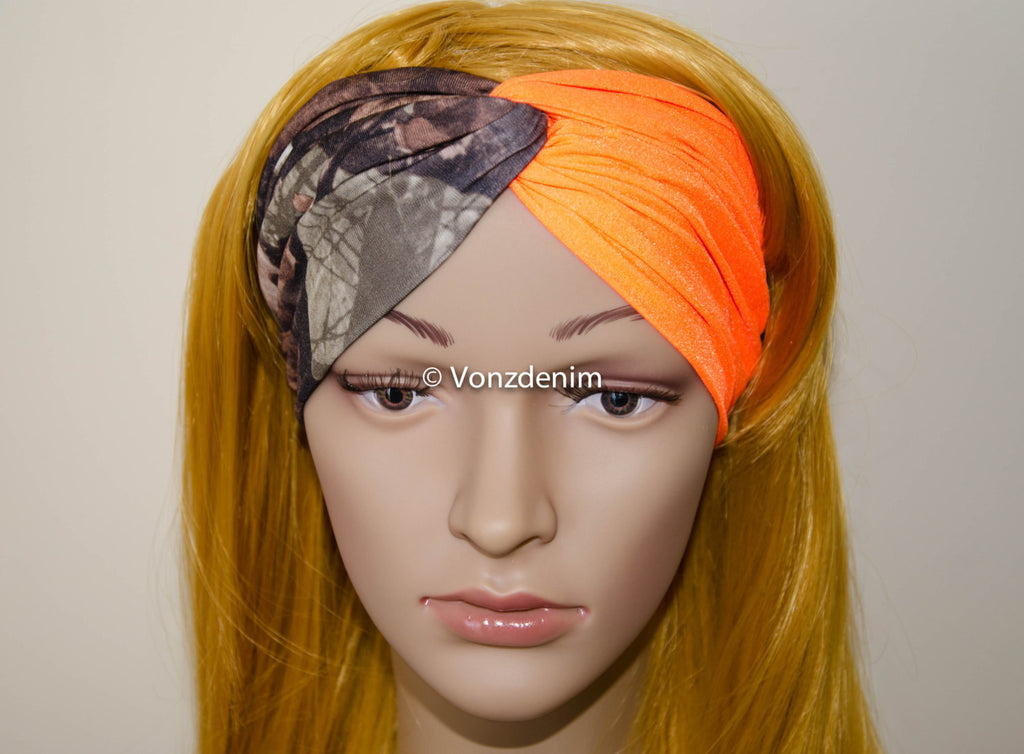 Camo and Blaze Orange Spandex Headband, Hunting Turban, Wide Stretchy Women's Head Wrap, Girly Hair Accessories, Twisted Fabric Hair Wrap - Voneenz