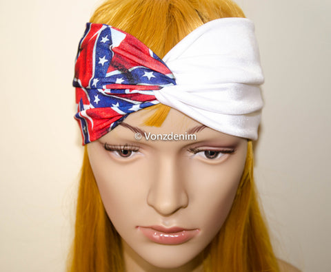 Rebel Flag Headband, Wide Stretchy Women's Head Wrap, Rebel Hair Band, Twisted Headband, Wide Rebel Flag Turband in Red White and purple