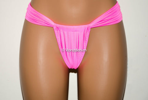 Pink Cheeky Brazilian Bikini Bottom, Full Coverage Swimsuit Bikini Bottom