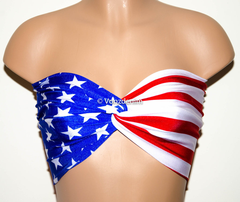 American Flag Bandeau, Beach Bra Swimsuit Top, Bikini Top Bandeau, Spandex Bandeau, Twisted Tops Bathing Suits - Voneenz