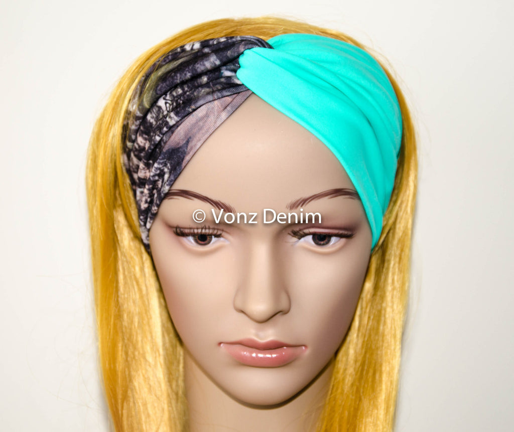 Camo and Mint Jersey Turban Headband, Wide Stretchy Women's Head Wrap, Girly Hair Accessories, Twisted Fabric Hair Wrap - Voneenz