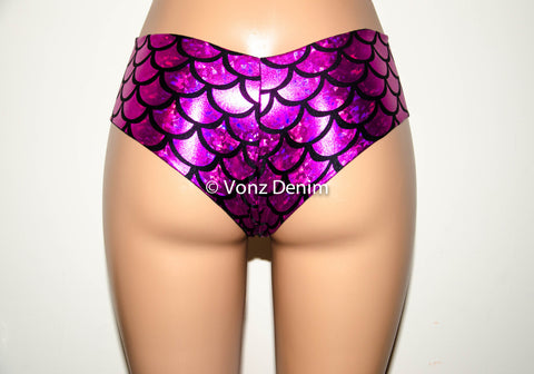 Cheeky Bikini Bottoms, Cheeky Brazilian Bikini Bottoms, Seamless Reversible Boy Shorts, Mermaid Cheeky Bikini Bottoms