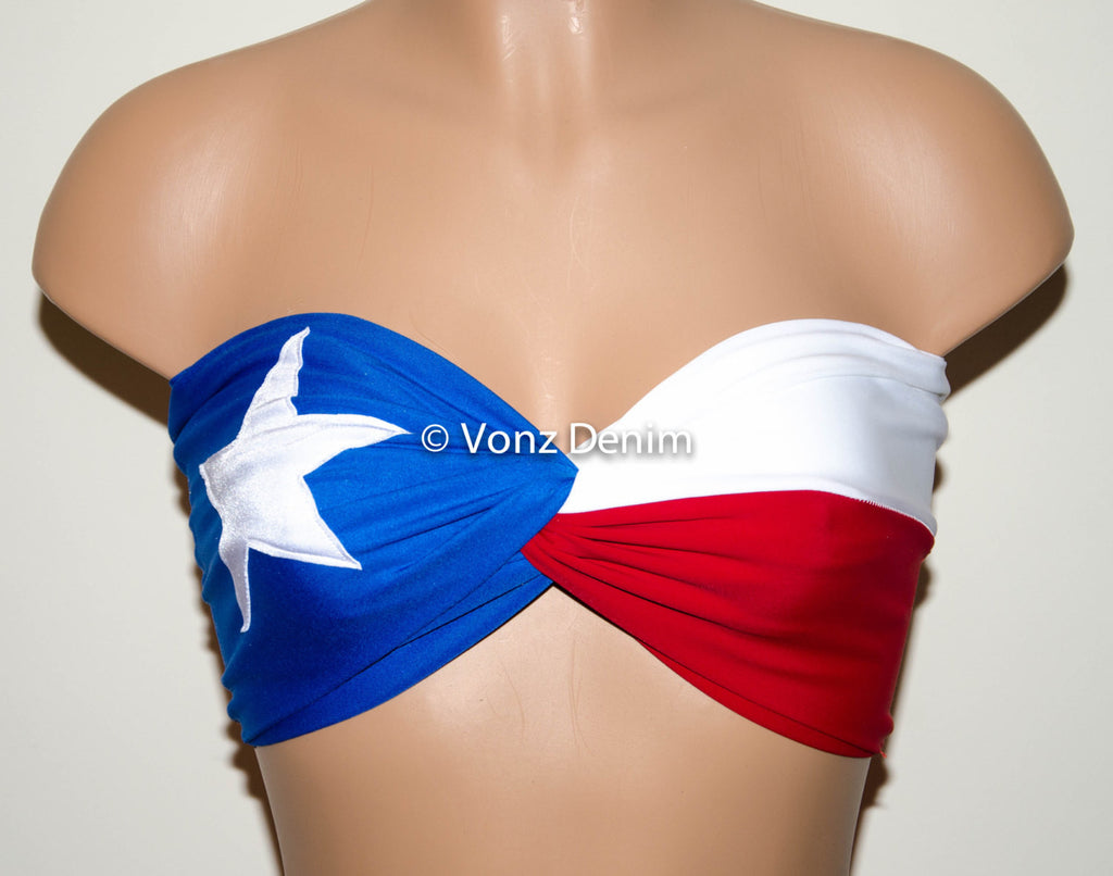PADDED Texas Flag Bandeau Top, Twisted Spandex Bandeau Bikini in Blue, White and Red - Voneenz