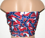 Rebel Flag Print Bandeau, Twisted Top Bathing Suits, Spandex Bandeau Bikini - Voneenz