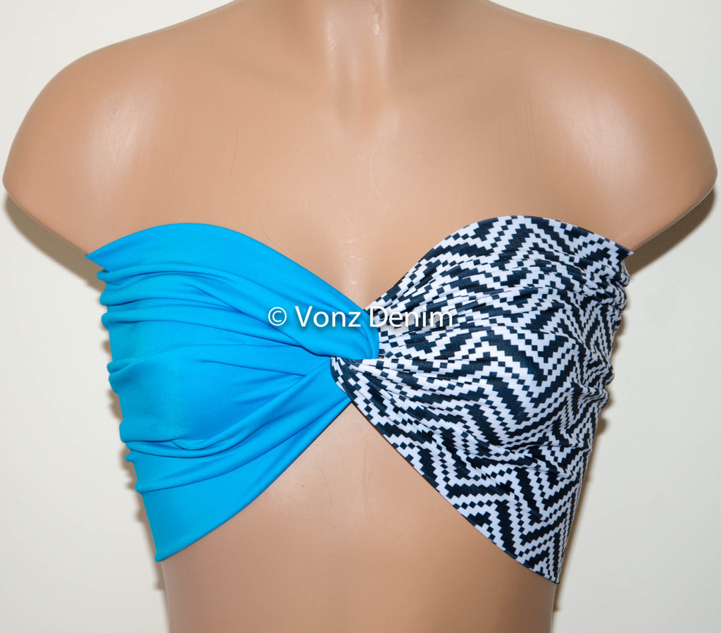 Turquiose and Aztec Chevron Yoga Sport Twisted Bandeau, Swimwear Bikini Top, Twisted Top Bathing Suits, Spandex Bandeau Bikini - Voneenz  - 1