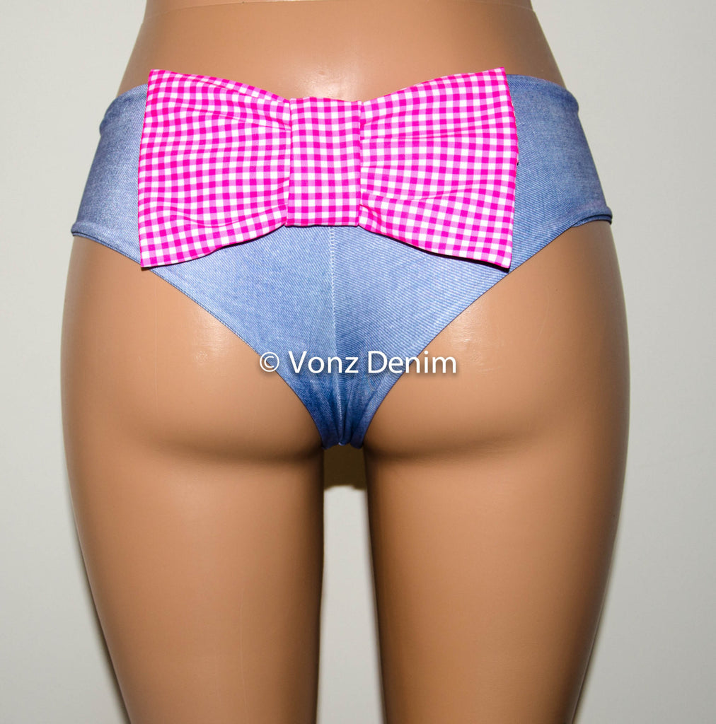 Denim and Plaid Cheeky Bikini Bow Bottoms, Hips Brazilian Bikini Bottoms, Seamless Reversible Boy Shorts - Voneenz