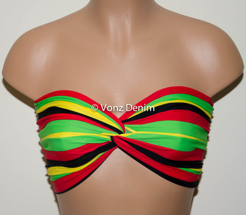 Rasta and Reggae Spandex Bandeau Top, Twisted Spandex Bandeau Bikini, Women Swimwear