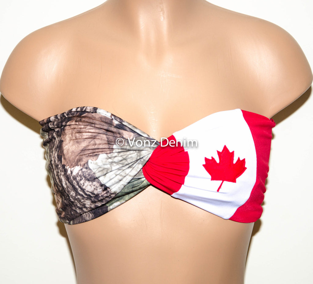 PADDED Canadian Flag and Camo Bandeau Top, Twisted Spandex Bandeau Bikini, Women Swimwear in Red white and Camouflage - Voneenz