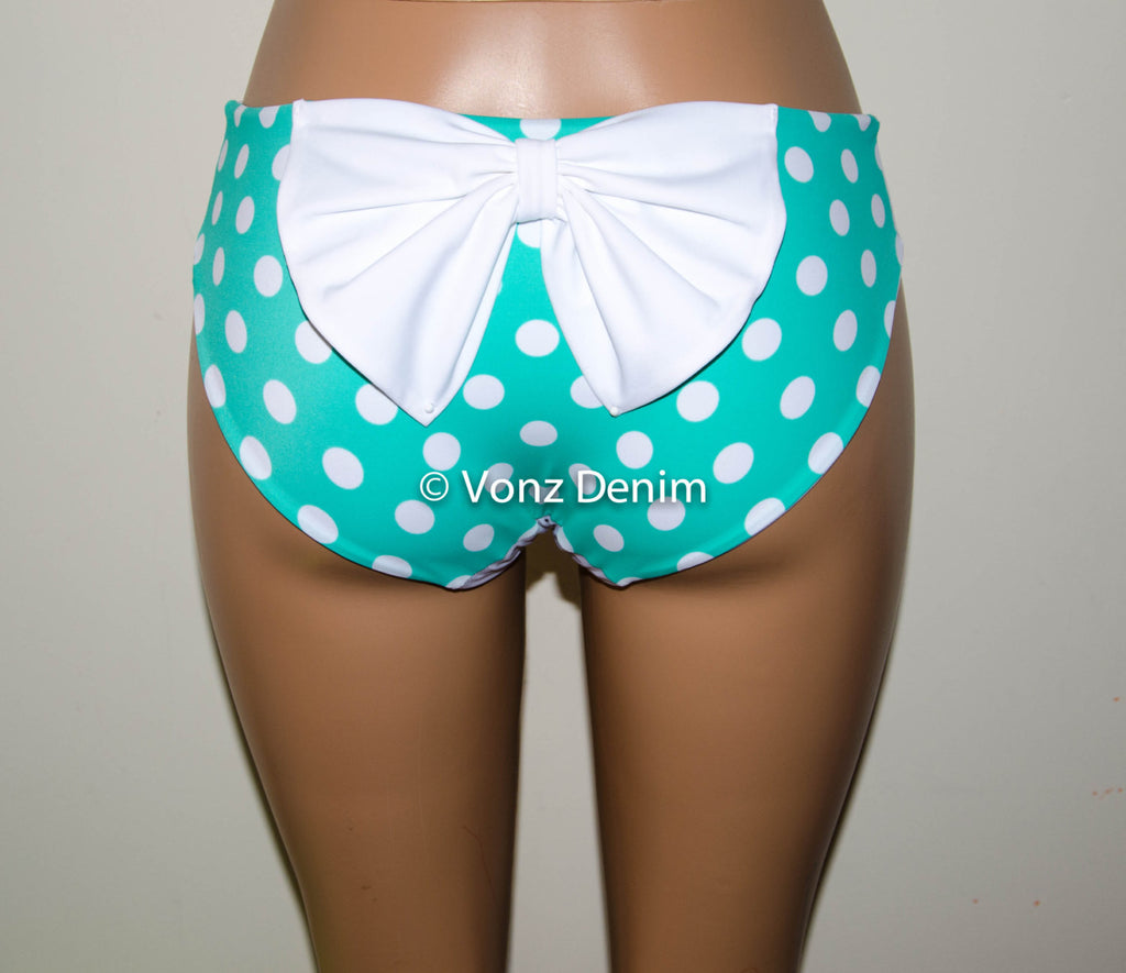 Mint and White Polka Dot Hips Bow Bikini Bottom, Full Coverage Bikini Bottoms, Fully Lined Spandex Swim Suit Bottom - Voneenz