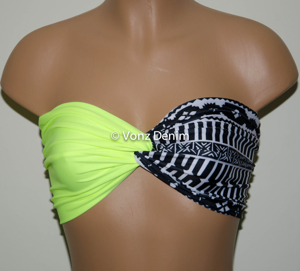 Neon Yellow and Aztec Tribal Bandeau Top, Swimwear Bikini Top, Twisted Top Bathing Suits, Spandex Bandeau Bikini - Voneenz