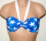 PADDED White & Blue Stars Twisted Top Bandeau, Beach Bra Swimsuit Top, Bikini Top Bandeau, Spandex Bandeau, Twisted Tops Bathing Suits - Voneenz
