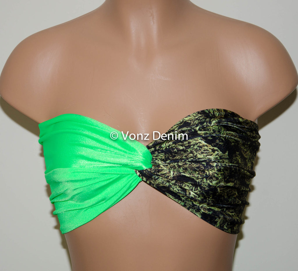 Marijuana Weed Leaf & Neon Green Twisted Bandeau, Swimwear Bikini Top, Cannabis Twisted Top Bathing Suits, Spandex Bandeau Bikini - Voneenz