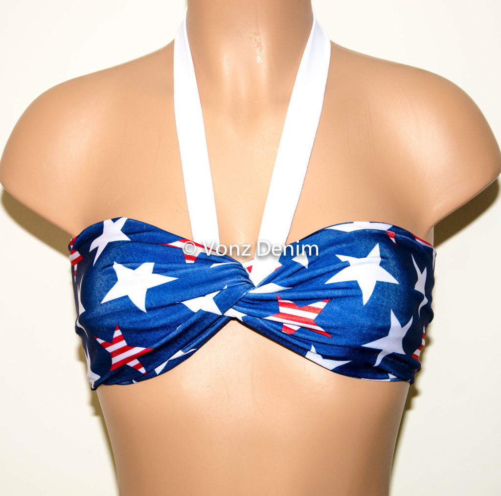 PADDED Blue, White & Red Stars Twisted Top Bandeau, Beach Bra Swimsuit Top, Bikini Top Bandeau, Spandex Bandeau, Twisted Tops Bathing Suits - Voneenz