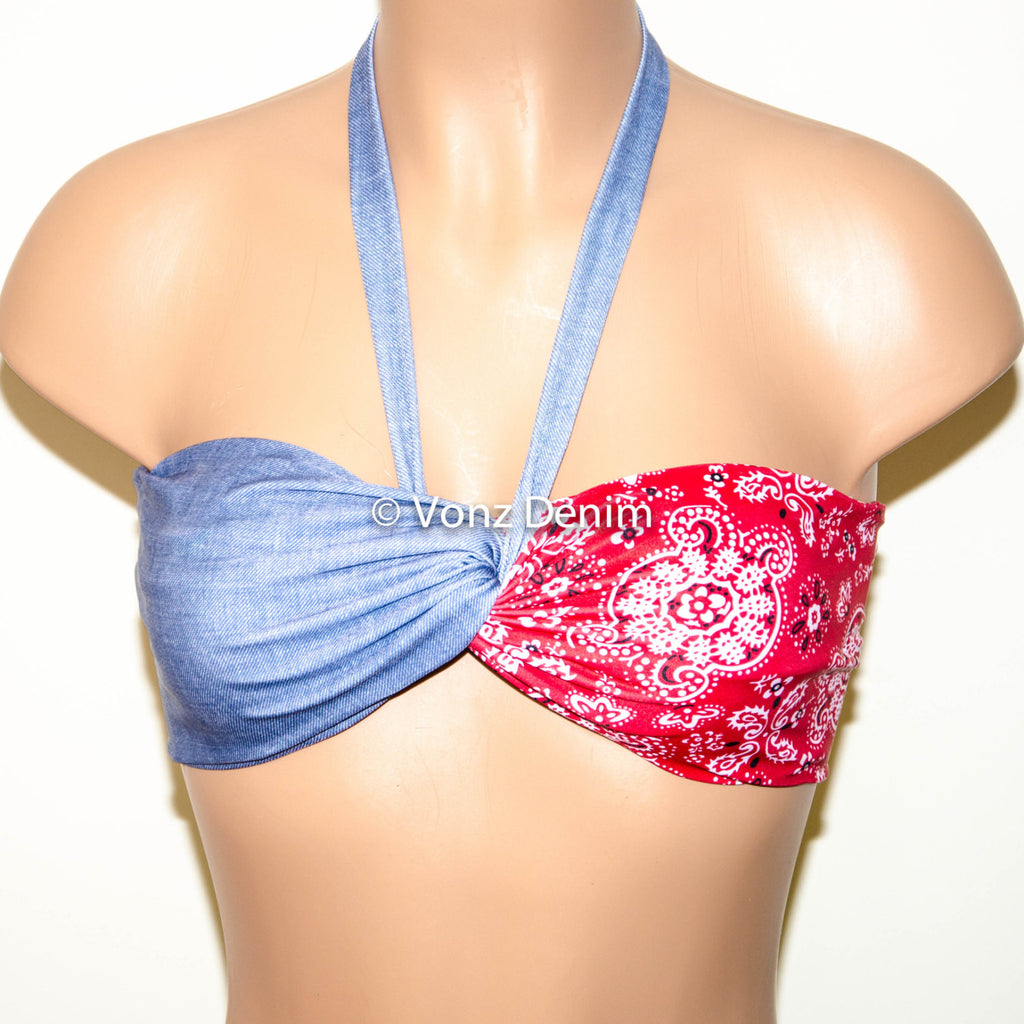 PADDED Blue Stretch Denim and Aztec Bandana Bandeau Top, Twisted Top Bathing Suits, Spandex Bandeau Bikini - Voneenz