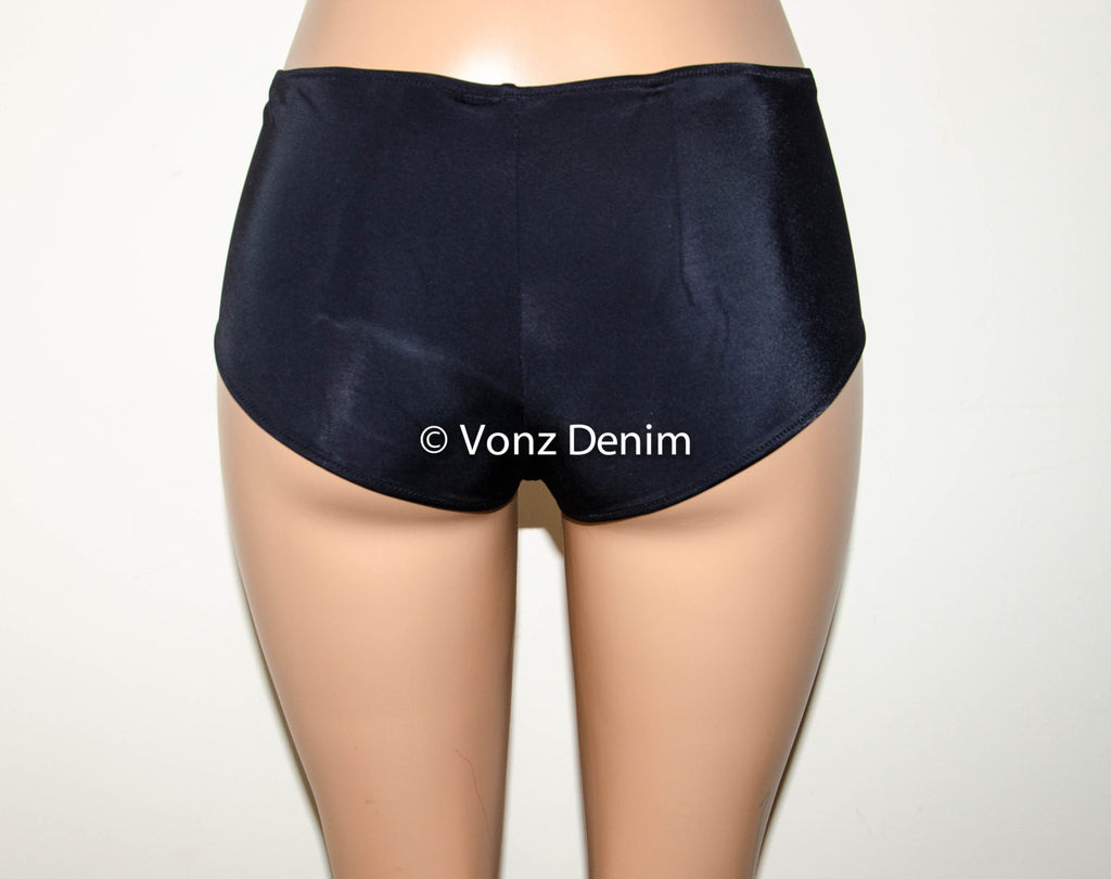 Black Full Coverage Boy Shorts Bikini Bottom, Fully Lined Hips Bikini Bottoms, Women Boy Shorts Bathing Suit - Voneenz