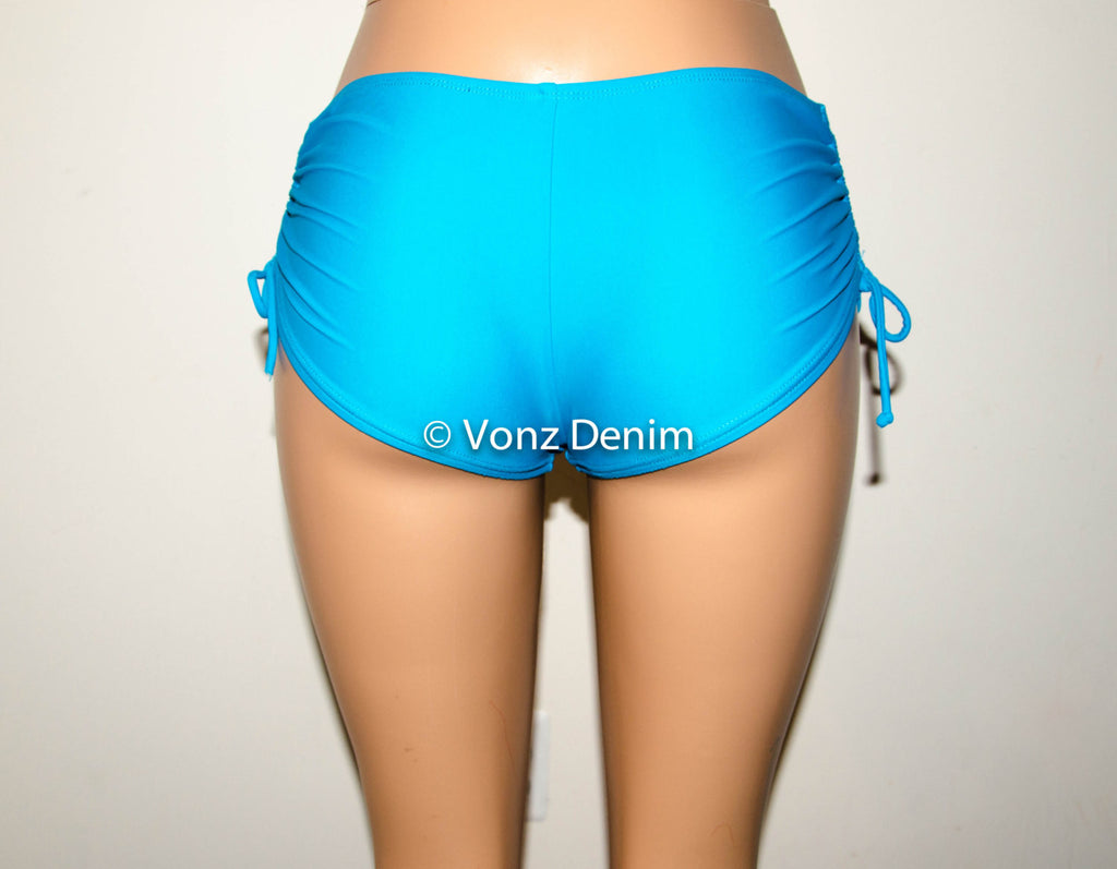 Full Coverage Boy Shorts Bikini Bottoms, Scrunch & tie Side Hips Bikini  Bottoms, Fully