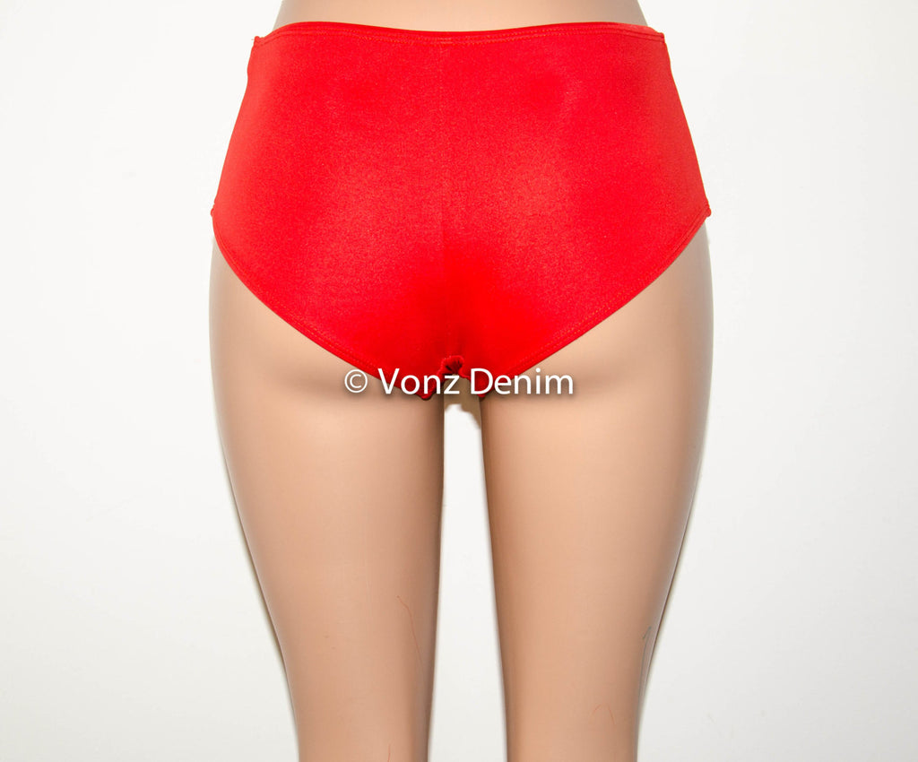 Red Boy Shorts Bikini Bottoms, Fully Lined Hips Bikini Bottoms, Women Boy Shorts Bathing Suit - Voneenz