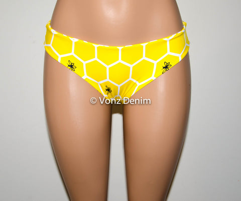 Yellow Bee Hive Hips Bikini Bottom, Full Coverage Bikini Bottoms, Fully Lined Spandex Swim Suit Bottom